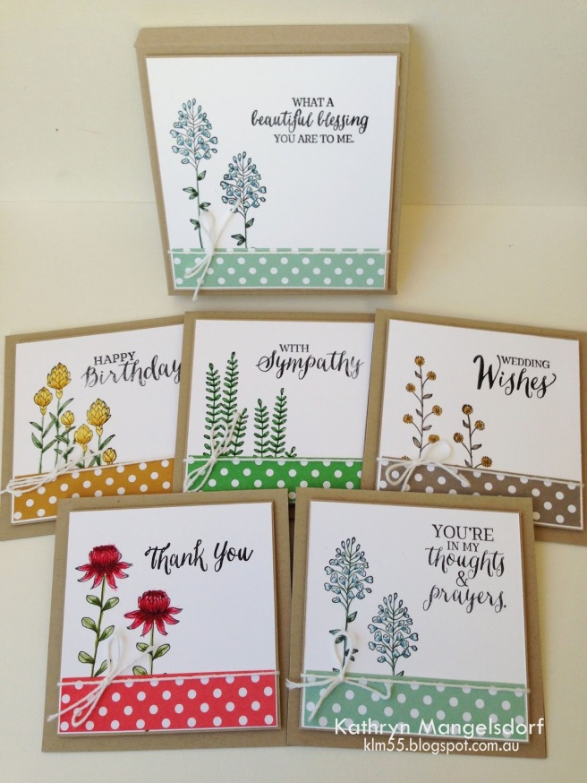 Kathryn Mangelsdorf Stampin' Up! Flowering Fields cards & box
